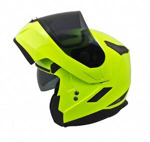 32bb2695 MT Flux Flip Front UP Motorcycle Helmet Fluo Yellow Motorbike Crash ...