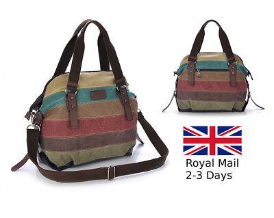 Womens Canvas Striped Tote Messenger Shoulder Handbag Ladies Two Strap Purse Bag