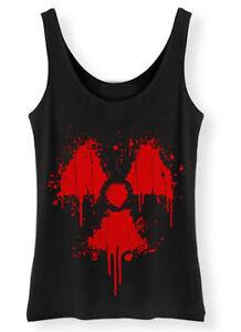 Radiactivo-Salpicaduras-Sangre-Mujer-Camiseta-de-Tirantes-Fallout-Grunge-Poste