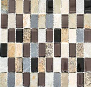 Das Bild Wird Geladen Glasmosaik Naturstein Beige Braun Grau Schwarz Pool  Bad