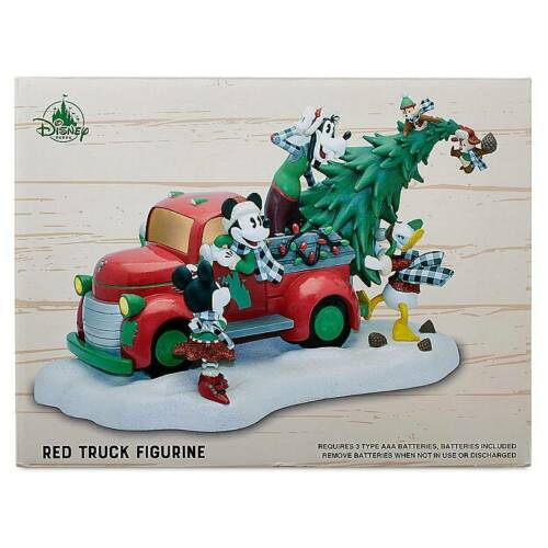 Disney Yuletide Farmhouse Mickey Friends Light-Up Red Truck Holiday Figurine New