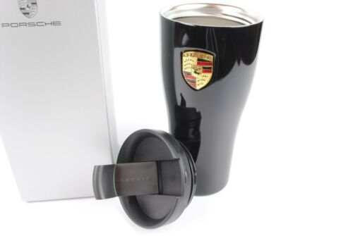Genuine Porsche Mug Coffee Cup Travel Thermal Insulated Stainless Steel Black