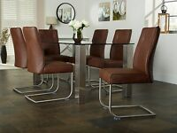 Leo Pair Of Faux Leather Dining Chairs Premium Quality & Stainless Steel Legs