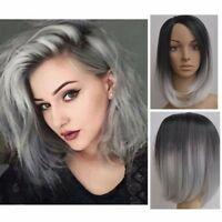 Women Heat Resistant Short Straight Full Wig Black Ombre Grey Hair Cosplay 28CM