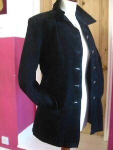 Size Uk Black Classics Coat Long Ladies Real 18 Jacket Suede Line Leather Modern zUg8wq4