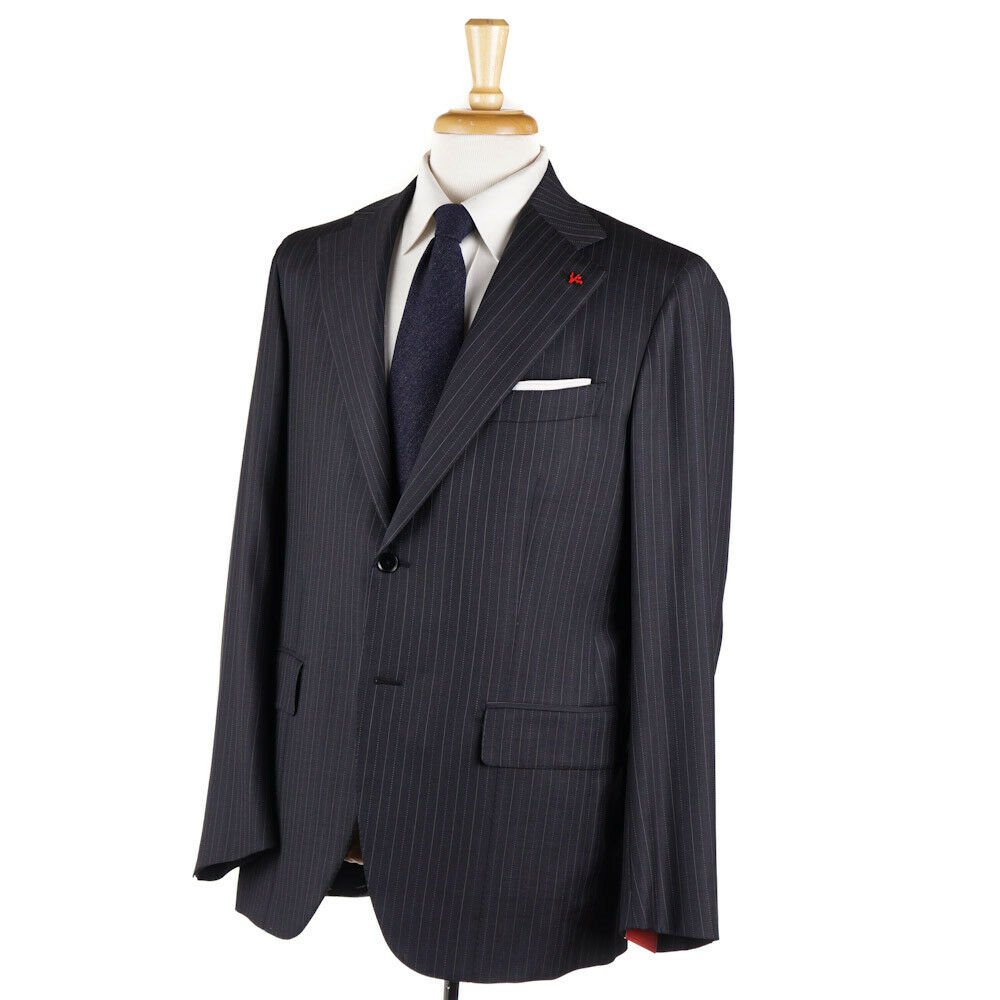 NWT 3695 ISAIA Charcoal grau Dotted Stripe Super 130s Wool Suit 44 R (Eu 54)
