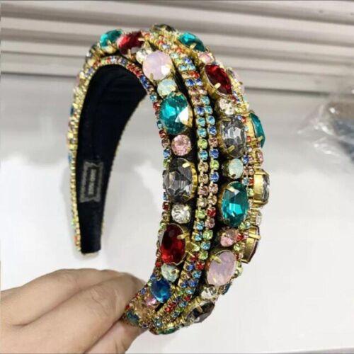 Women/'s Baroque Crystal Full Bead Headband Padded Headbands Hair Accessories