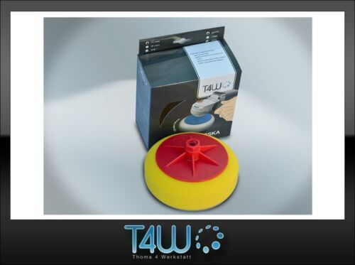 "T4W Polishing pad sponge ""rounded"" 150×50 mm M14 thread /  yellow (semi-soft)"