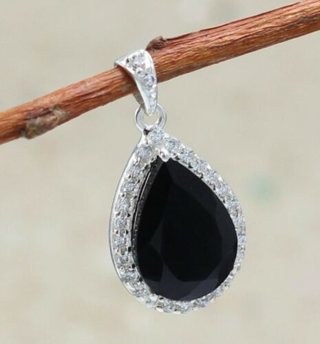 Solid 925 Sterling Silver Black Onyx Amethyst Gemstone Gold Plated Gift Pendant