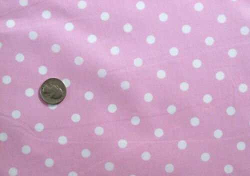 WHITE SMALL POLKA DOT GIRL PASTEL FASHION SEW CRAFT FABRIC half yds BABY PINK