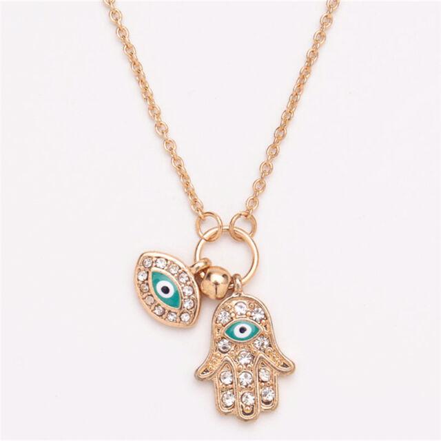Fatima Hamsa Hand Turkey Blue Evil Eye Necklace Charm Pendant Jewish Jewelry LY