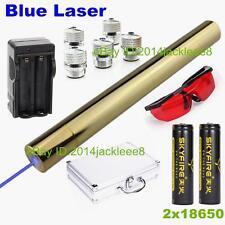 High Power Focusable Blue Laser Pointer 5000 Lumen Burning Lazer Pen 2x18650 O