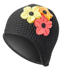 Vintage Style Ladies Black Bubble Floral Swim Cap Multi-Color Flowers Adult New