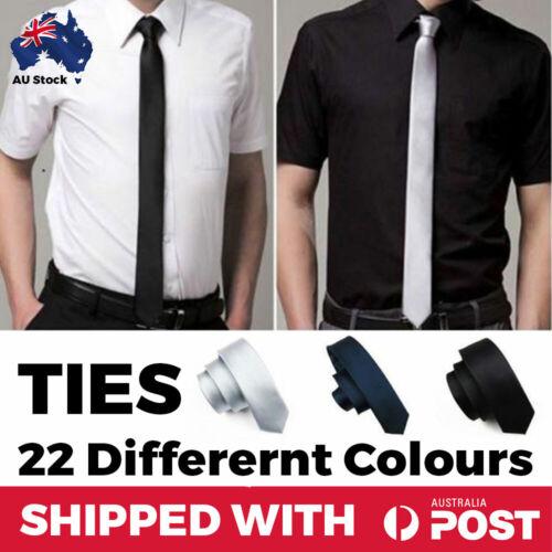 TIES SKINNY Mens Boys Kids Plain Wedding Slim Necktie Formal Casual Narrow Ties
