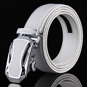 White-Belt-For-Men-Genuine-Leather-Belts-Automatic-Ratchet-Belt-Buckles-46-034