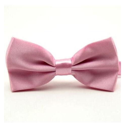 Men Satin Bowtie Classic Wedding Party Bow Tie  Solid Color Adjustable Necktie