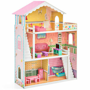 BCP Kids 3-Story Wooden Open Dollhouse Set w/ 5 Rooms, 17 Mini Furniture Pieces