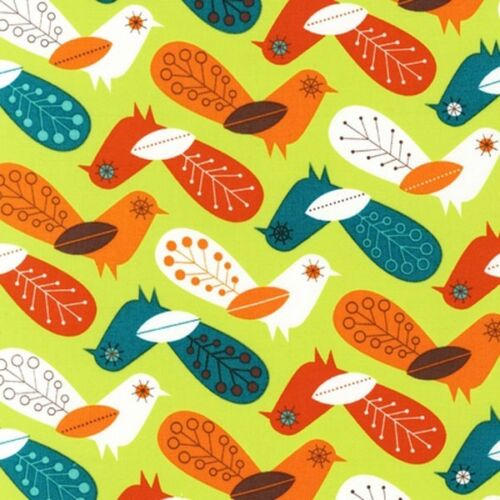 "Robert Kaufman /""Critter Community/"" Funky Birds Retro Fabric"