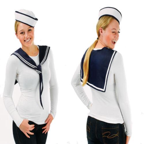 LADIES SAILOR HAT /& NECK TIE FANCY DRESS COSTUME OUTFIT SET WOMENS DOUGHBOY LADY
