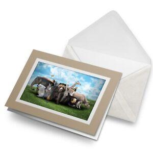 Greetings-Card-Biege-Wild-Animals-Bear-Giraffe-Zebra-14558