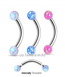 azul blanco Internamente roscado de 3 MM Imitación Ópalo Curvo Acero Ceja Barra de color de rosa