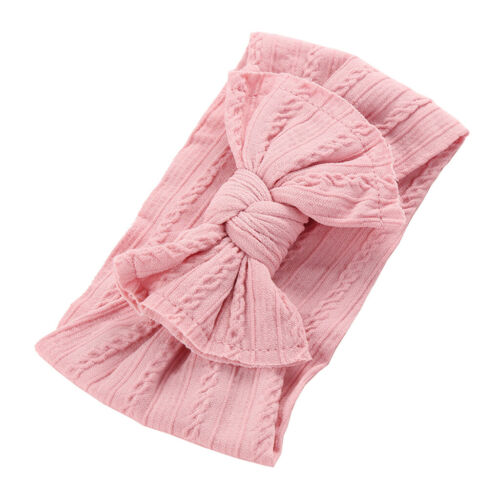 10 colors Braid Bow Cable Knit Solid Wide Headbands Turban Baby Girls Head Wrap