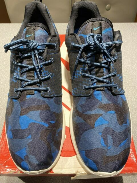 Nike Roshe One Print #655206-404 Brigade Blue /Blk Camouflage Men Size 9.5 NDS
