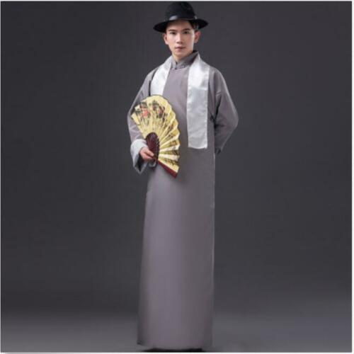Chinese Mens Ancient Mandarin Robe Long Gown Ip Man Costume Stage Dress @sp01