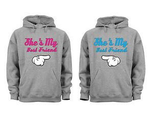 Couples Matching Hoodies Shes My Best Friend Matching Couple Grey