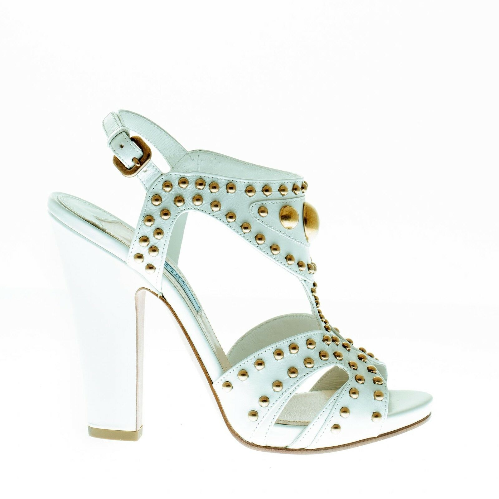 Prada Mujer Zapatos Talco Sandalias Sandalias Sandalias De Cuero Con Metal Dorado Tachas Trim  protección post-venta