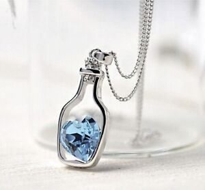 Hot-Women-Crystal-Rhinestone-Love-Heart-Drift-Bottle-Pendant-Necklace-Chain-Gift