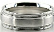 10K WHITE GOLD MENS WEDDING BANDS,MILGRAIN 8MM SATIN FINISH  MENS WEDDING RINGS