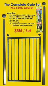 Flat-Top-Pool-Gate-Set-Incl-in-ground-Posts-Magna-Latch-amp-Tru-Close-Hinge-Kit