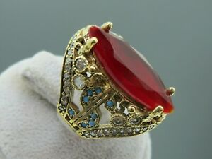 Turkish-Handmade-Jewelry-925-Sterling-Silver-Ruby-Stone-Women-Ring-Sz-8