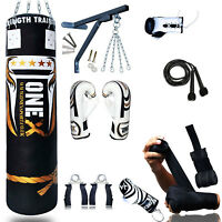 One-x 14 Piece Boxing Set 4ft Filled Heavy Punch Bag Gloves,chains,bracket,kick-