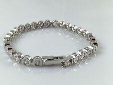 "925 Sterling Silver Solid Heavy Ladies CZ Line Bracelet 7.5"" 16gr Hallmarked"