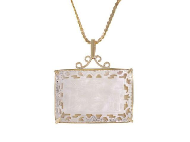 14-18KT Yellow Gold Mother of Pearl Small Gambling Chip Pendant & Chain Lot 190