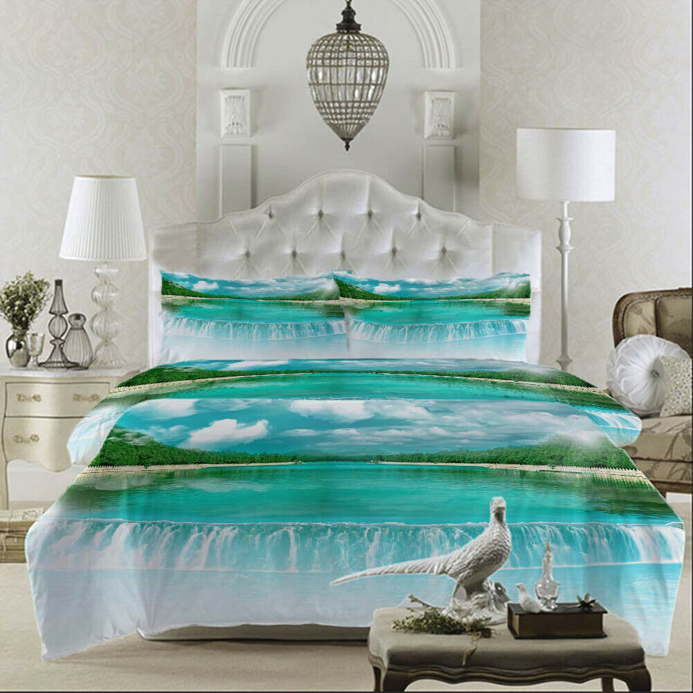 Blau Grün Lake 3D Printing Duvet Quilt Doona Covers Pillow Case Bedding Sets