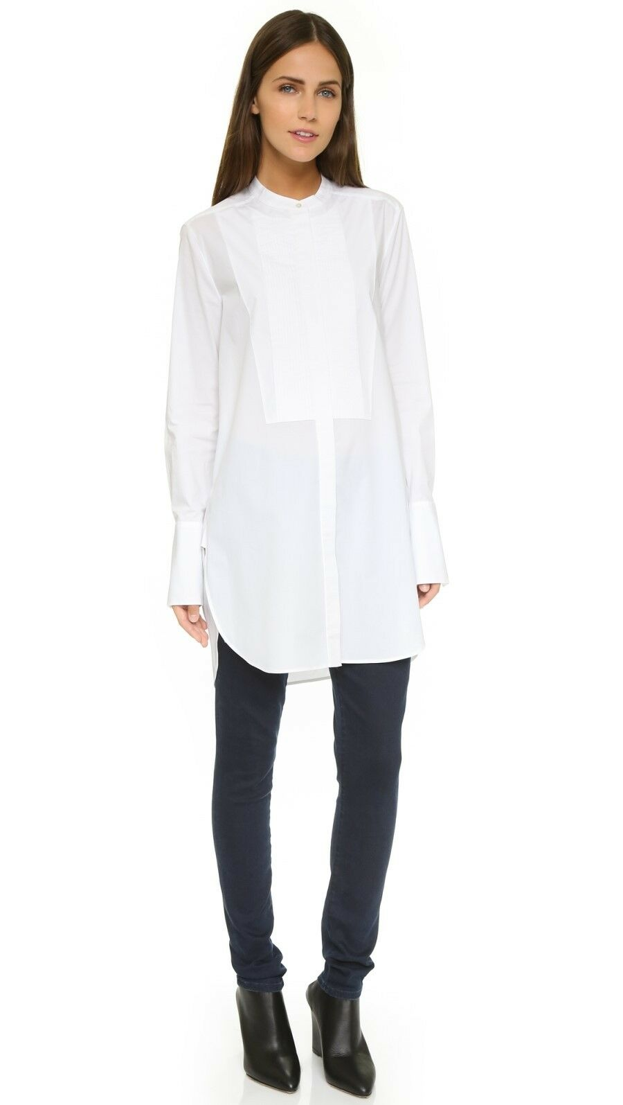 NWT Vince Poplin Pleat Tunic Shirt White Size XS, S