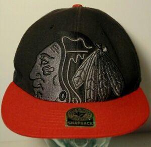 CHICAGO-BLACKHAWKS-NHL-National-Hockey-League-BLACK-HAT-SNAPBACK-CAP-47BRAND