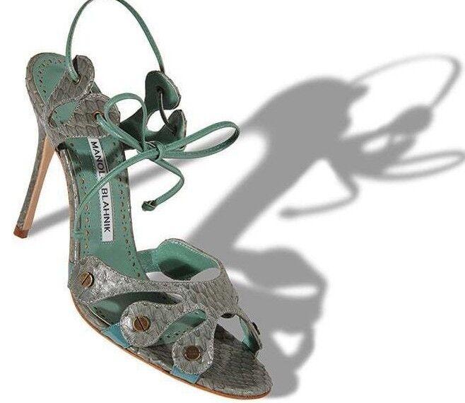 1065 New Manolo Blahnik RIGORA Green EXOTIC Snakeskin Strappy Sandals shoes 36.5