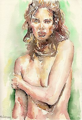 NUDE MODEL #06  Original Watercolor Painting by Marina Sotiriou female beauty