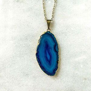Blue Agate Slice Pendant