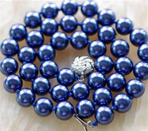 Fashion Magnifique 10 mm Navy Blue Sea Shell collier de perles AAA