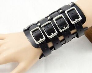 4-STRAP-BLACK-LEATHER-WRISTBAND-WRIST-STRAP-BAND-FOUR-GOTH-STEAMPUNK-PUNK-A120