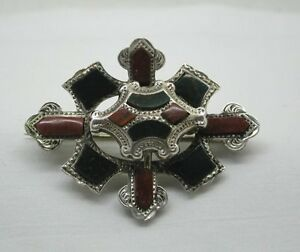 Details about Beautiful Vintage Scottish Silver And Agate Plaid Brooch