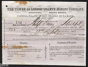 Share Scrip - Gold Mining. 1868 Tower of London Quartz Mining Co. Magpie Ranges