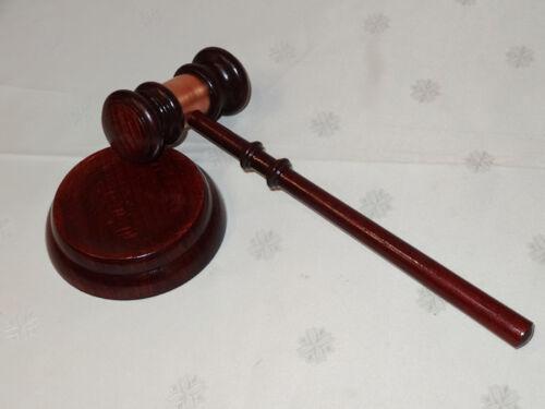 mit Kupfer Richterhammer Auktionshammer Gerichtshammer mit Block gedrechselt