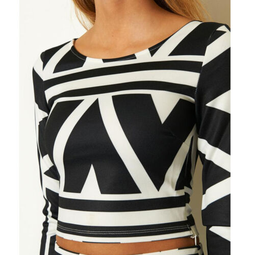 sold separately Blk//Wht GF31027 Ginger Fizz Aztec Print Co-Ord Skirt /& top