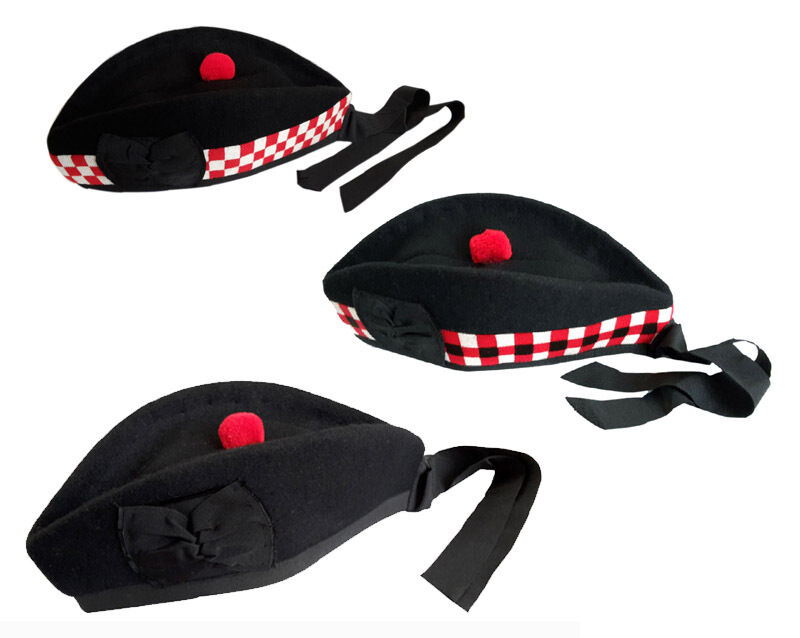 Wool Glengarry Hat, Scottish Bonnet, Pipe Band Hat, Red White Black diced